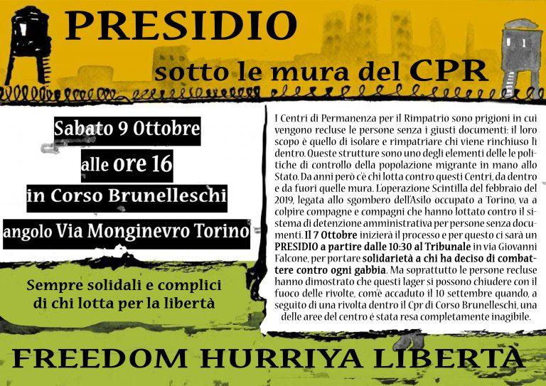 PRESIDIO SOTTO LE MURA DEL CPR DI TORINO – SABATO 9 OTTOBRE